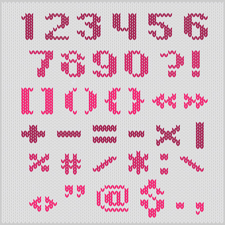 Knitted vector alphabet, red bold sans serif letters  on gray background. Part 2 - numbers and punctuation. Vector