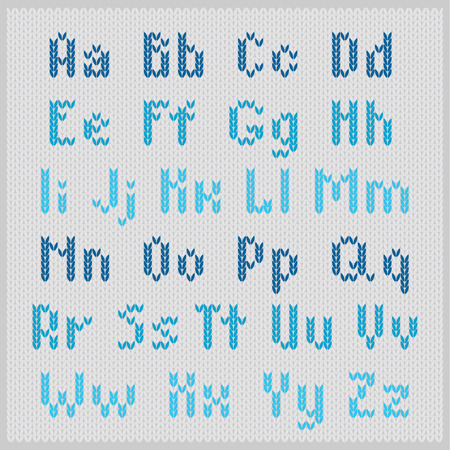 Knitted vector alphabet, blue small sans serif letters on gray background. Part 1 - letters. Vector