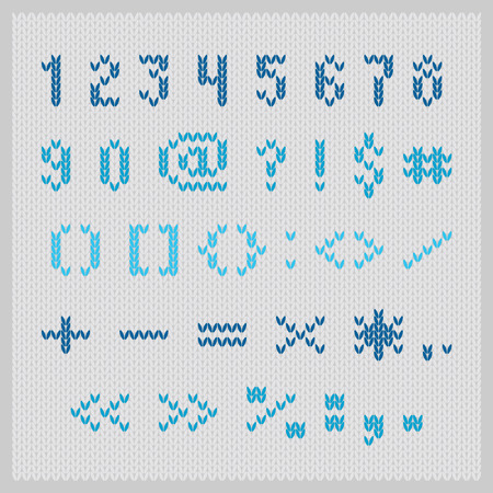 Knitted vector alphabet, blue small sans serif letters on gray background. Part 2 - numbers and punctuation. Vector