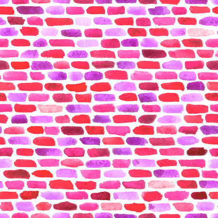 lilac background: Coral red watercolor bricks. Vector abstract seamless pattern.