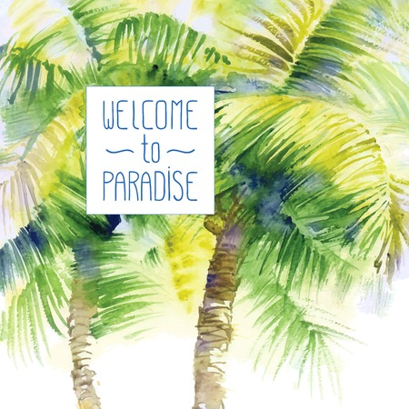 frond: Vector design template with watercolor palms