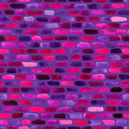 brushstrokes: Violet watercolor bricks. Vector abstract seamless pattern. Illustration