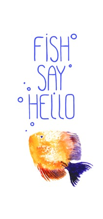 discus: Vector background with orange watercolor discus fish