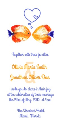 diving save: Vector background with orange watercolor discus fish for wedding invitation