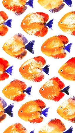 swabs: Vector seamless pattern with orange watercolor discus fish Illustration
