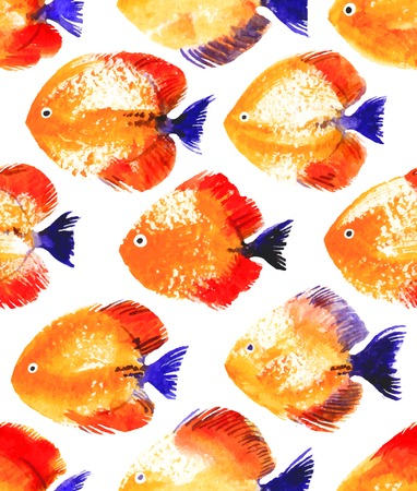 Vector seamless pattern with orange watercolor discus fish Vector
