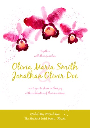 Vector background with red watercolor orchids for wedding invitation or flyer Vector