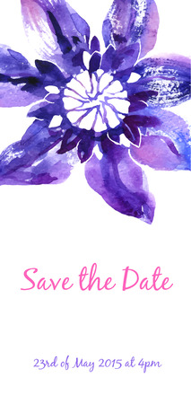 background with violet watercolor clematis for wedding invitation Vector