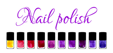 cosmetic lacquer: Background for beauty salon with watercolor painted nail polishes