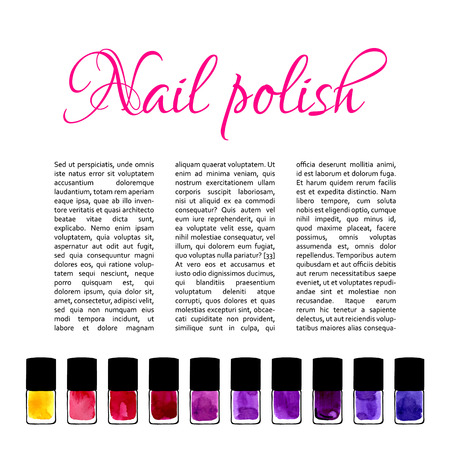 nail salon: Background for nail salon with watercolor painted nail polishes Illustration
