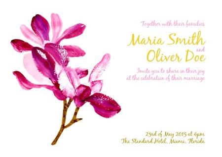 flor morada: Vector de fondo con magnolia acuarela de color rojo para la invitaci�n de boda o un volante Vectores