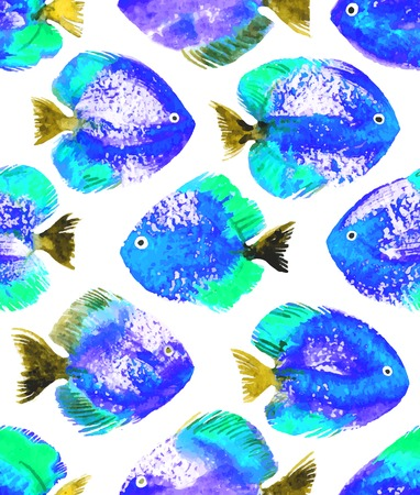 discus: Vector seamless pattern with blue watercolor discus fish