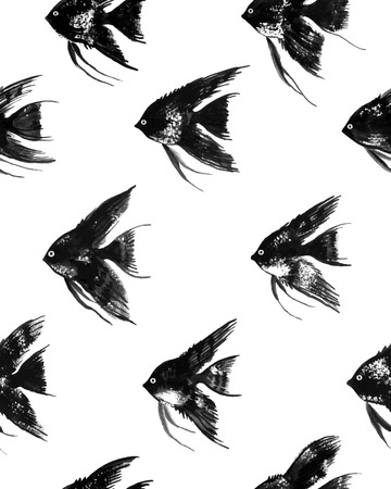 angelfish: Vector seamless pattern with watercolor black angelfish on white background