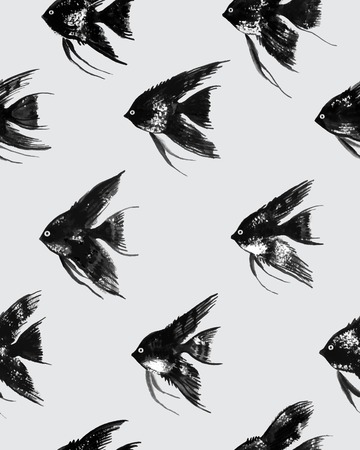 pterophyllum: Vector seamless pattern with watercolor black angelfish on gray background