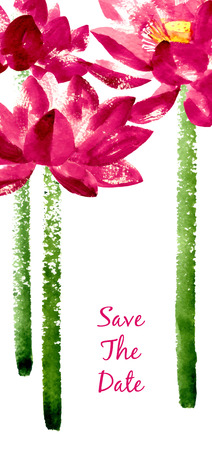 lotus: Vector background with red watercolor lotus for wedding invitation or flyer