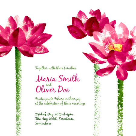 magenta flowers: Vector background with red watercolor lotus for wedding invitation or flyer