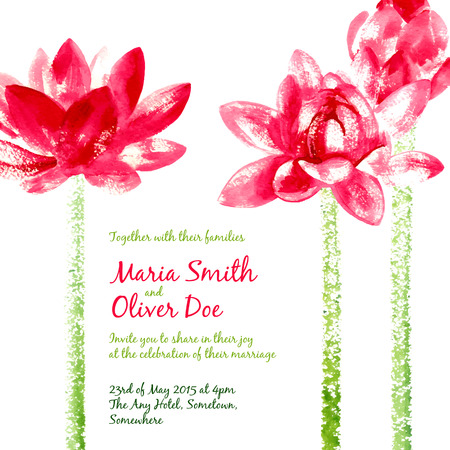 crimson: Vector background with red watercolor lotus for wedding invitation or flyer