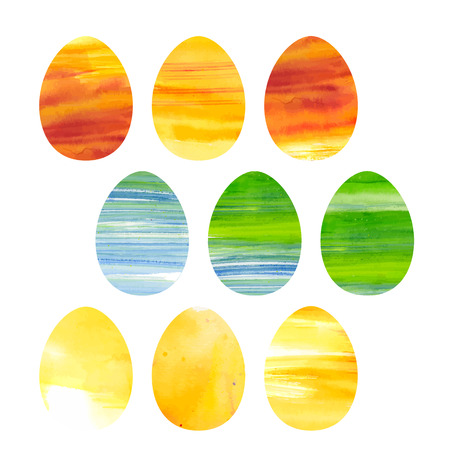 Easter  collection of watercolor colored vector eggs