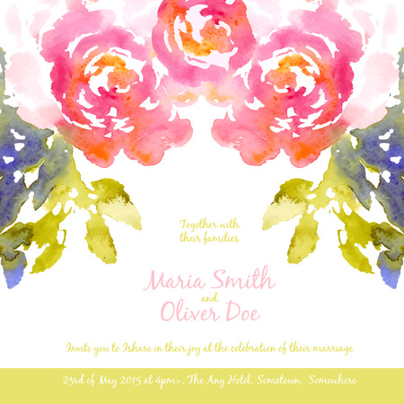 magenta flowers: Vector background with pink watercolor bouquet for wedding invitation or flyer