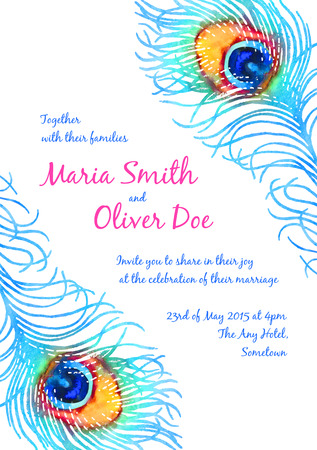 peacock feathers: Elegant vector background for wedding invitation with watercolor peacock feather