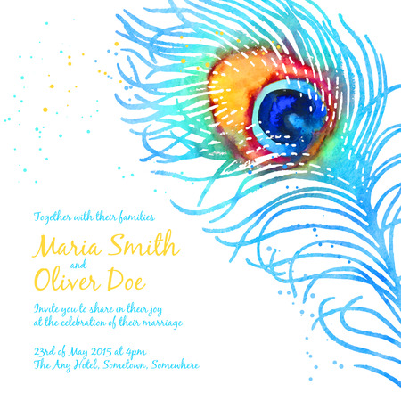full size: Elegant vector background for wedding invitation with watercolor peacock feather