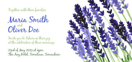 Vector background with violet watercolor lavender for wedding invitation or flyer