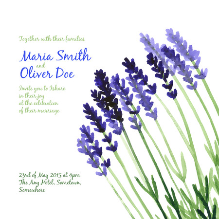 purple plants: Vector background with violet watercolor lavender for wedding invitation or flyer