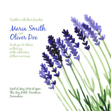 violet purple: Vector background with violet watercolor lavender for wedding invitation or flyer