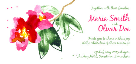 isolated on red: Vector background with red watercolor camellias for wedding invitation or flyer