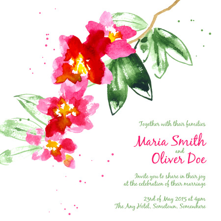 camellia: Vector background with red watercolor camellias for wedding invitation or flyer