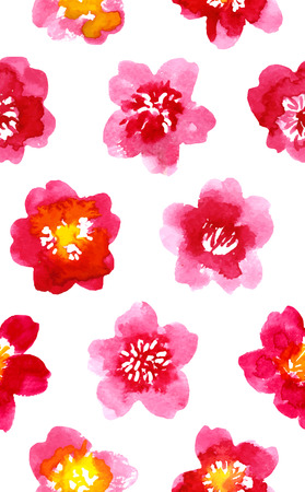 camellia: Multicolored watercolor painted pattern with camellia
