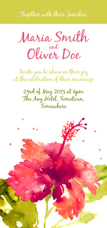Vector background with red watercolor hibiscus for wedding invitation or flyer Illustration