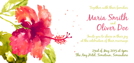 tropical flowers: Vector background with red watercolor hibiscus for wedding invitation or flyer Illustration