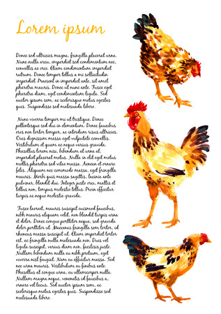 country side: Design template with orange-red watercolor hens and roosters