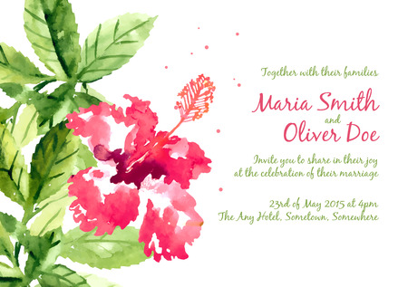 beautiful red hibiscus flower: Vector background with red watercolor hibiscus for wedding invitation or flyer Illustration