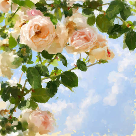 rosebud: Digital painted picture with rose-tree and sky. Can be used as invitation-card or picture-card background.
