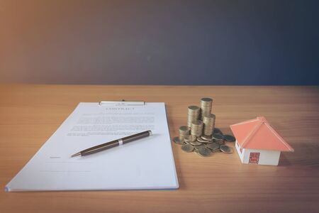 Lease Rental agreement document with keys and pen, Highlighted– stock image