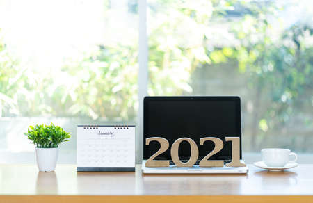 2021 calendar page close to the businessman, business planning, creativity to success