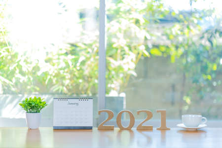 Business trends 2021 with text and creative business people to success
