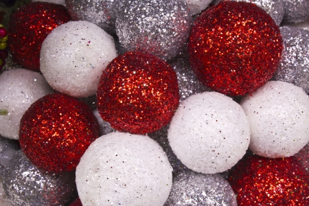 Red and White Christmas Decorations for Wallpaper or Background photo