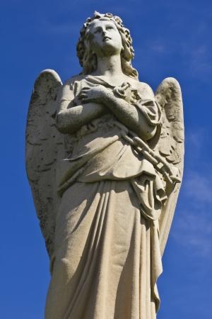 Granite Cemetery Angel - Beautiful Granite Cemetery Angel Stock Photo