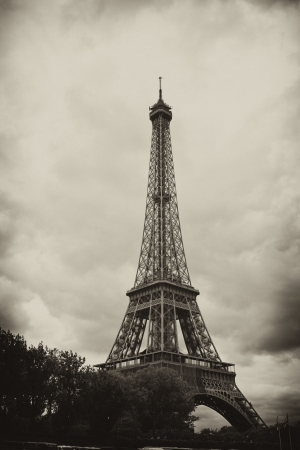 Paris Eiffel Tower - Antiqued Paris Eiffel Tower on a Cloudy Day photo