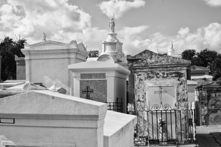 New Orleans Cemetery - Rows of Vaults in a New Orleans Cemetery