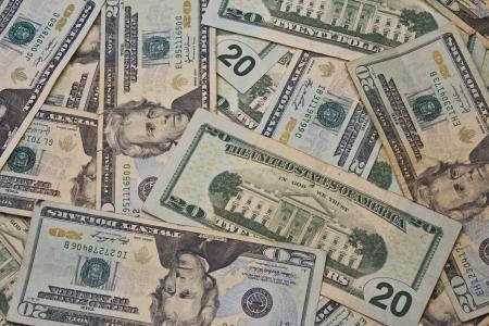 letra de cambio: Veinte billetes de d�lar para el fondo abstracto - una pila de veinte billetes de d�lar para el fondo abstracto