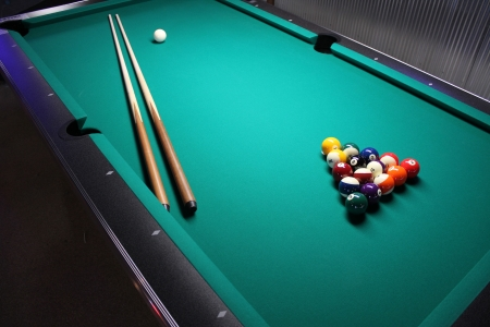 Pool Table - A Pool Table, set up for a game Stock Photo