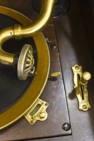 phonograph: Antique Gramophone Phonograph 1 - Vintage Gramophone Phonograph Closeup With Turntable and Needle Stock Photo