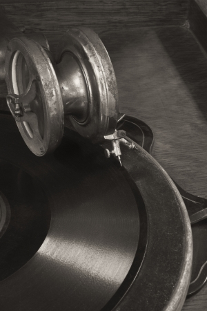 gramaphone: Antique Gramophone Phonograph 4 - Vintage Gramophone Phonograph Closeup With Turntable and Needle Stock Photo