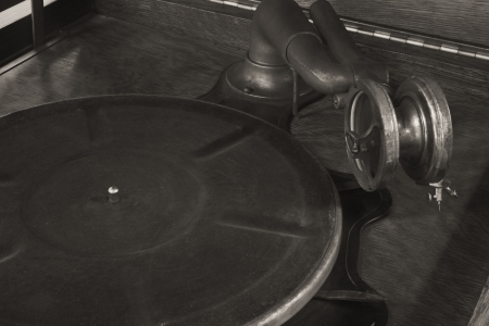 antique phonograph: Antique Gramophone Phonograph 5 - Vintage Gramophone Phonograph Closeup With Turntable and Needle