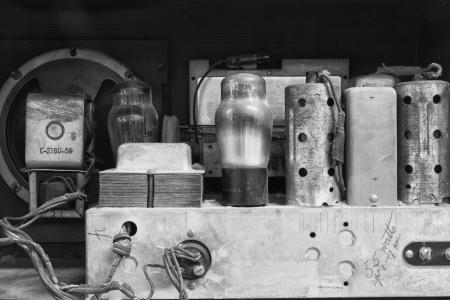 Inside an Antique Radio Set - Antique Radio Set Complete with Vacuum Tube Stock Photo