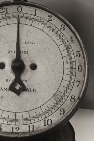 Antique Food Scale - Black and White Antique Scale for Weighing Food